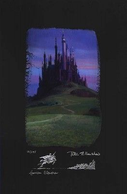 "Peter and Harrison Ellenshaw Individually Hand Numbered Limited Edition Chiarograph on Black Paper:""Sleeping Beauty Castle"""
