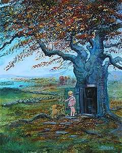 """Peter and Harrison Ellenshaw Limited Edition Giclee on Canvas:""""Fall in the 100 Acre Wood """""""