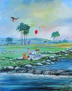 "Peter and Harrison Ellenshaw Limited Edition Giclee on Canvas:""Summer in the 100 Acre Wood """