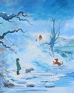 "Peter and Harrison Ellenshaw Limited Edition Giclee on Canvas:""Winter in the 100 Acre Wood """