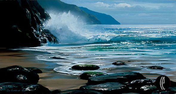 """Peter Ellenshaw Handsigned and Numbered Limited Edition Giclee on Canvas :""""Seascape"""""""