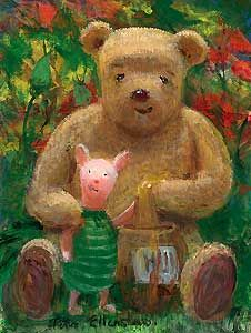"""Peter Ellenshaw Handsigned and Numbered Limited Edition Giclee on Canvas: """"Winnie the Pooh - Hunny"""""""