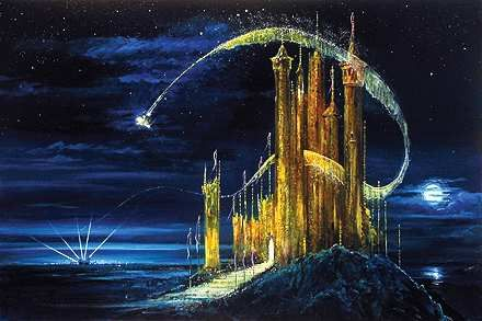 "Peter Ellenshaw Handsigned & Numbered Limited Edition Canvas Giclee: ""Gold Castle"""