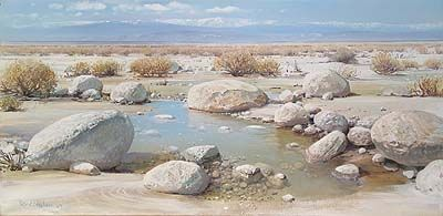 "Peter Ellenshaw Handsigned & Numbered Limited Edition Giclee on Canvas:""Desert Reflections"""