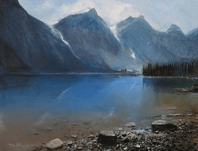 "Peter Ellenshaw Handsigned & Numbered Limited Edition Giclee on Canvas:""View at Lake"""
