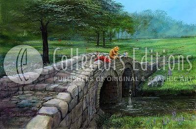 """Peter Ellenshaw Limited Edition Giclee on Canvas :""""Fishing with Friends """""""