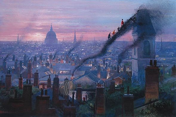"""Peter Ellenshaw Limited Edition Giclee on Canvas :""""Smoke Staircase"""""""