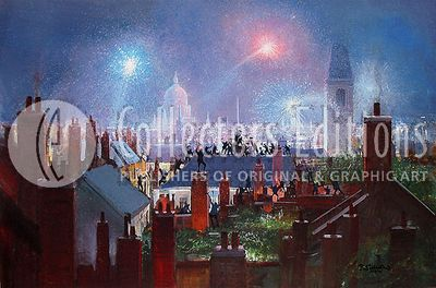 """Peter Ellenshaw Limited Edition Giclee on Canvas :"""" Sweeps Dance Over Rooftops"""""""