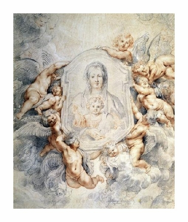 """Peter Paul Rubens Fine Art Open Edition Giclée:""""Image of the Virgin Portrayed with Angels"""""""
