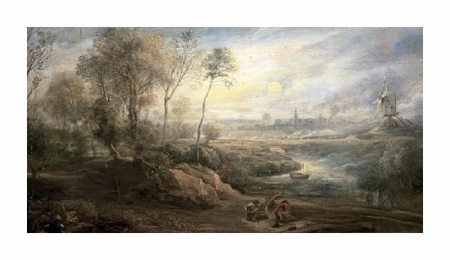 "Peter Paul Rubens Fine Art Open Edition Giclée:""Landscape with a Bird-Catcher"""