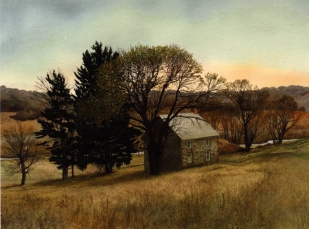 """Peter Sculthorpe Handsigned and Numbered Limted Edition Giclee on Etching Paper:""""Creek House"""""""
