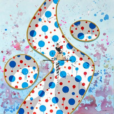 """Philippe Bertho Hand-Signed Limited Edition Canvas:""""Rouge et Bleu (Red and Blue)"""""""