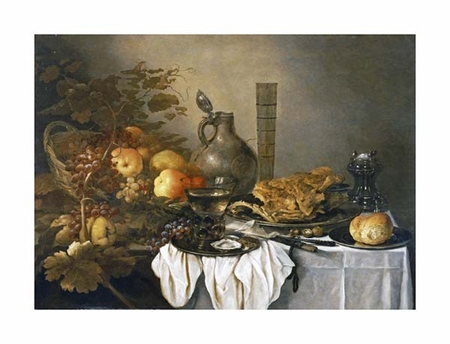"""Pieter Claesz Fine Art Open Edition Giclée:""""A Still Life with a Roemer, Oysters, a Roll and Meat"""""""