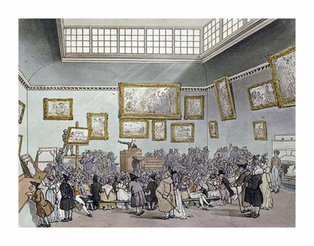 "R. Ackermann Fine Art Open Edition Giclée:""Colored Aquatint of Christies Auction Room"""