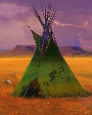 """R. Tom Gilleon Artist Signed Limited Edition Giclée Canvas:""""Green Buffalo Lodge"""""""