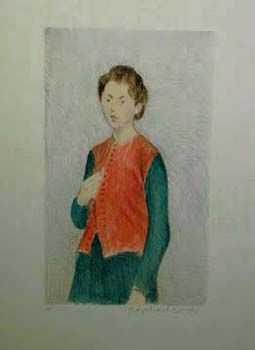 """Raphel Soyer Hand Signed Publisher Proof Lithograph:""""Girl, Red Vest, Green Dress"""""""