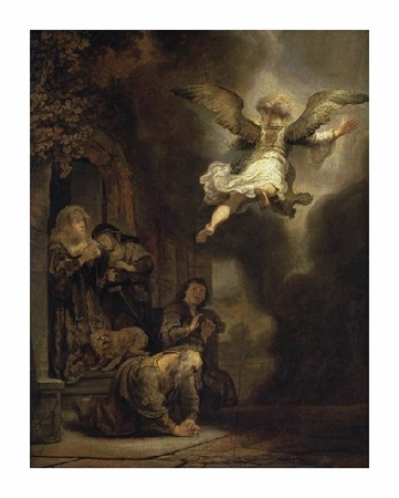 "Rembrandt Van Rijn Fine Art Open Edition Giclée:""Archangel Raphael Leaving the Family of Tobias"""