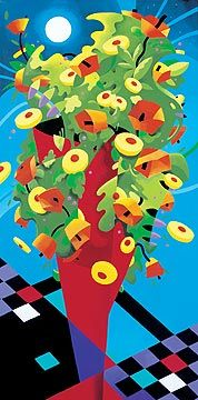 "René Lalonde Limited Edition Hand Pulled Serigraph:""Cosmic Bouquet"""