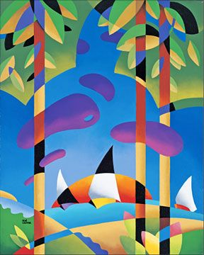 "René Lalonde Limited Edition Hand Pulled Serigraph:""Sailing at Sunset"""