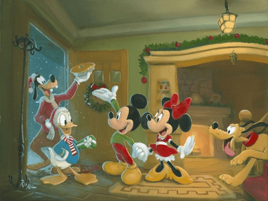 "Rob Kaz 2012 Disney Holiday Limited Edition Canvas Giclee:""Mickey Mouse - Home for the Holidays"""