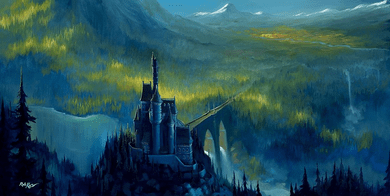 "Rob Kaz Artist Signed and Numbered Hand Embellished Limited Edition Giclee on Canvas:""Enchanted Castle"""