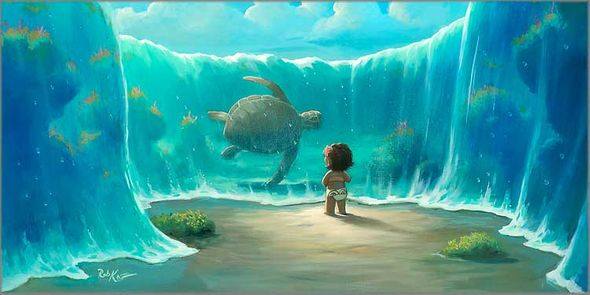 """Rob Kaz Artist Signed and Numbered Hand Embellished Limited Edition Giclee on Canvas:""""Moana's New Friend"""""""