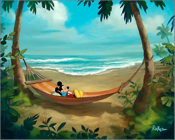 """Rob Kaz Artist Signed and Numbered Hand Embellished Limited Edition Giclee on Canvas:""""Rest and Relaxation"""""""