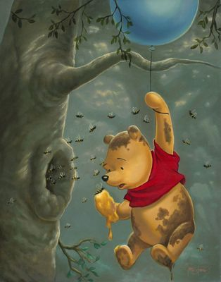"""Jared Franco Gallery Wrapped Hand Embellished Canvas:""""Pooh's Sticky Situation"""""""