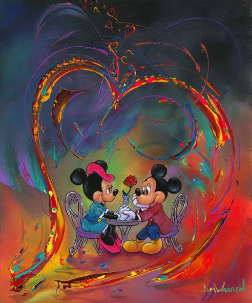 """Jim Warren Gallery Wrapped Hand Embellished Canvas:""""Every Day is Valentine's Day"""""""