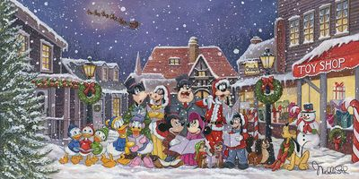 "Michelle St Laurent Gallery Wrapped Hand Embellished Canvas:""A Snowy Christmas Carol"""