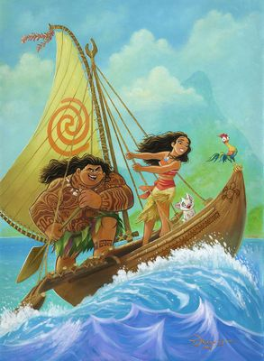 "Tim Rogerson Gallery Wrapped Hand Embellished Canvas:""Moana Knows the Way"""