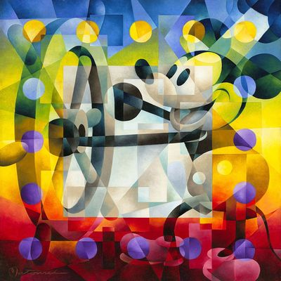 """Tom Matousek Gallery Wrapped Hand Embellished Canvas:""""Steamboat Willie"""""""