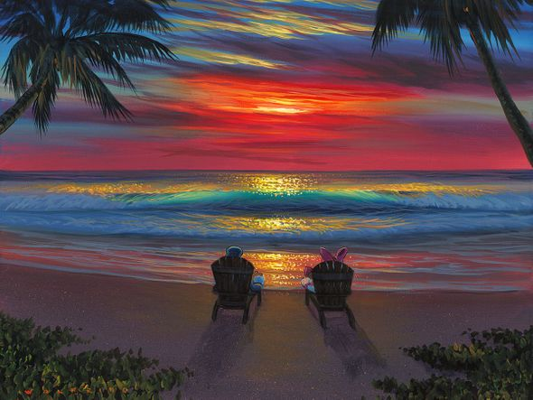 "Walfrido Garcia Gallery Wrapped Hand Embellished Canvas:""Donald and Daisys Perfect Sunset"""