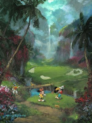 "James Coleman Gallery Wrapped Hand Embellished Canvas:""17th Tee in Paradise"""