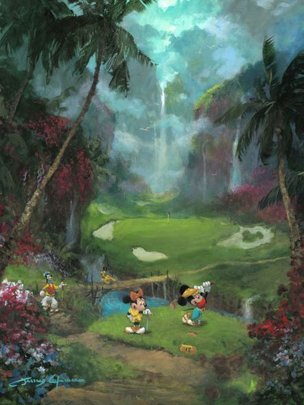 """James Coleman Gallery Wrapped Hand Embellished Canvas:""""17th Tee in Paradise"""""""