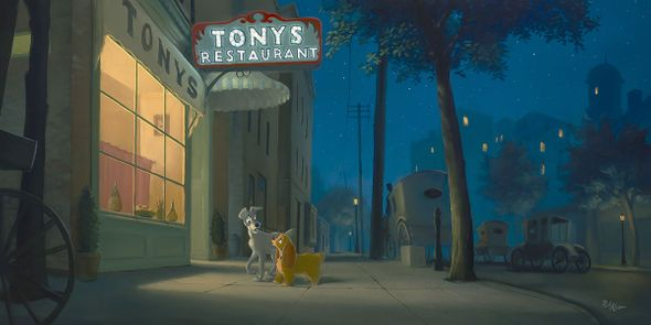 "Rob Kaz Signed and Numbered Hand-Embellished Giclée on Canvas: ""A Night With Lady-Lady and the Tramp"""