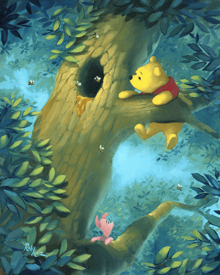"Rob Kaz Signed and Numbered Hand-Embellished Giclée on Canvas:""Curious Bear-Winnie the Pooh"""