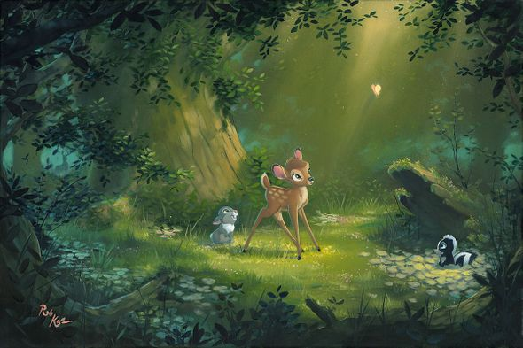 """Rob Kaz Signed and Numbered Hand-Embellished Giclée on Canvas:""""The Beauty of Life - Bambi"""""""