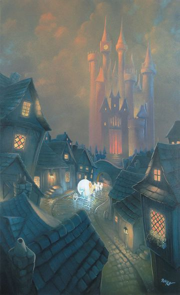 """Rob Kaz Signed and Numbered Hand-Embellished Giclée on Canvas:""""The Palace Awaits-Cinderella"""""""