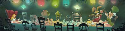 """Rob Kaz Signed and Numbered Limited Edition Hand-Embellished Giclée on Canvas:""""A Mad Tea Party"""""""