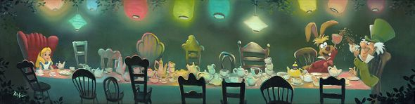 "Rob Kaz Signed and Numbered Limited Edition Hand-Embellished Giclée on Canvas:""A Mad Tea Party"""