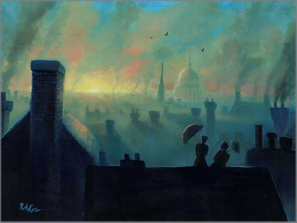 """Rob Kaz Signed and Numbered Limited Edition Hand-Embellished Giclée on Canvas:""""A View from the Chimneys"""""""