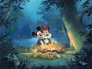 """Rob Kaz Signed and Numbered Limited Edition Hand-Embellished Giclée on Canvas:""""Family Camp Out"""""""