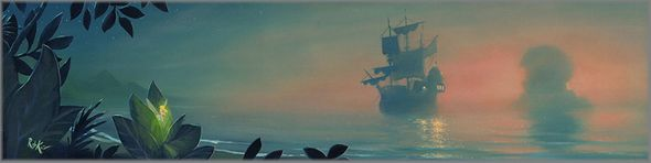 "Rob Kaz Signed and Numbered Limited Edition Hand-Embellished Giclée on Canvas:""Neverland Lagoon"""