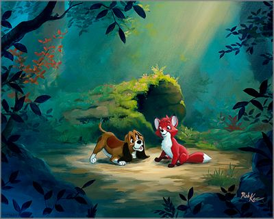 """Rob Kaz Signed and Numbered Limited Edition Hand-Embellished Giclée on Canvas:""""New Found Friend in the Forest"""""""