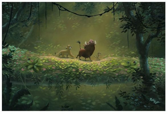 """Rob Kaz Signed and Numbered Limited Edition Hand-Embellished Giclée on Canvas:""""No Worries"""""""