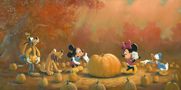 "Rob Kaz Signed and Numbered Limited Edition Hand Embellished Giclée on Canvas:""Picking the Perfect Pumpkin"""
