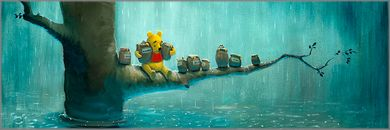 """Rob Kaz Signed and Numbered Limited Edition Hand-Embellished Giclée on Canvas:""""Waiting Out the Rain"""""""