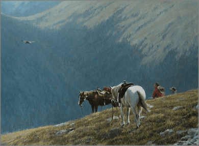 """Robert Bateman Hand Signed and Numbered Limited Edition Canvas Giclee:""""Cowboys and Golden Eagle"""""""