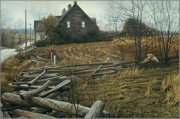 """Robert Bateman Hand Signed and Numbered Limited Edition Canvas Giclee:""""Pheasants at Dusk"""""""